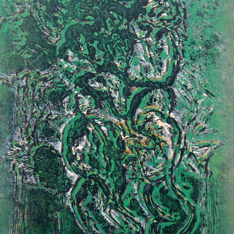 Abstract Figure in Green - Painting by Hans Gustav Burkhardt