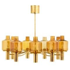 Large Hans-Agne Jakobsson Nine-Arm Brass Chandelier