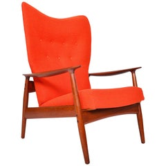 Midcentury Kay Rasmussen Teak High Back Reclining Lounge Chair