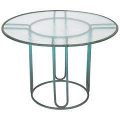 Walter Lamb Round Patio Dining Table with Glass Top