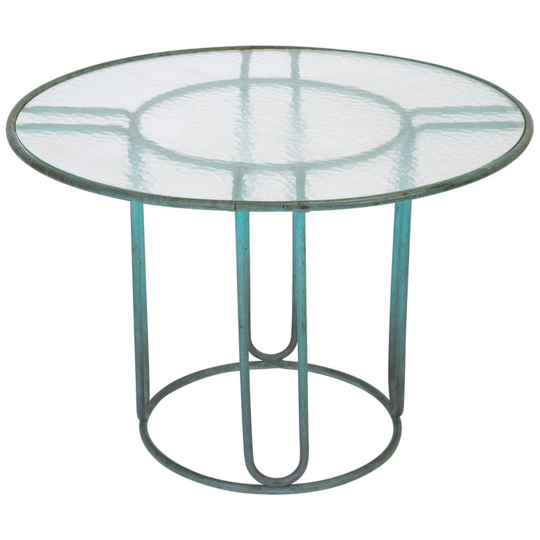 Walter Lamb Round Patio Dining Table with Glass Top For Sale
