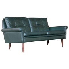 Sven Skipper Danish 1960s Two-Seat Sofa in Dark Racing Green Leather