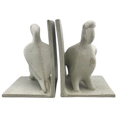 Ceramic Parrot Bookends by Bruno Gambone, Mid-Century Modern, Italian