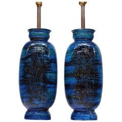 Large Ceramic Pair Rimini Blue Table Lamps by Aldo Londi for Bitossi, Italy