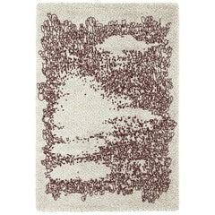 Brabbu Yupik Handgetufteter Gefärbter Wolle Teppich in Weiß und Burgund