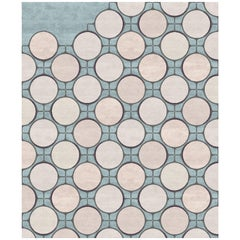 Sacre-Coeur Contemporary Art Hand-Knotted Circles Wool and Silk Large Rug