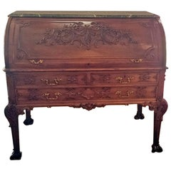 19th Century Hampton & Sons Chinese Chippendale Cylinder Desk