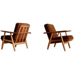 Hans J. Wegner GE 240 Oak Cigar Easy Chairs, 1950s