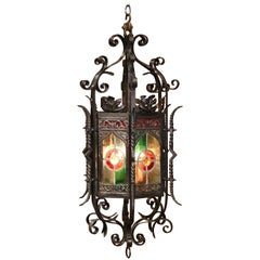 19th Century French Napoleon III Iron Hexagonal Lantern with Stain Glass Panels