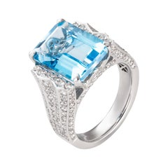 11.23 Carat Emerald Cut Blue Topaz Diamond 18 Karat White Gold Cocktail Ring