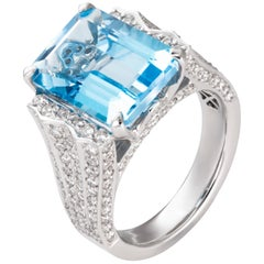 11.23 Carat Emerald Cut Blue Topaz Diamond 18 Karat White Gold Cocktail Ring