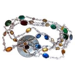 11.23ct. Natural Vivid Sapphires Ruby Emerald Tanzanite Diamonds Yard Necklace