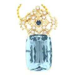112.51 Carat Aquamarine & 0.49 Carat Tourmaline and Diamond Pendant