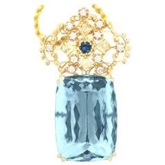 112.51 Carat Aquamarine and 0.49 Carat Tourmaline and Diamond Pendant