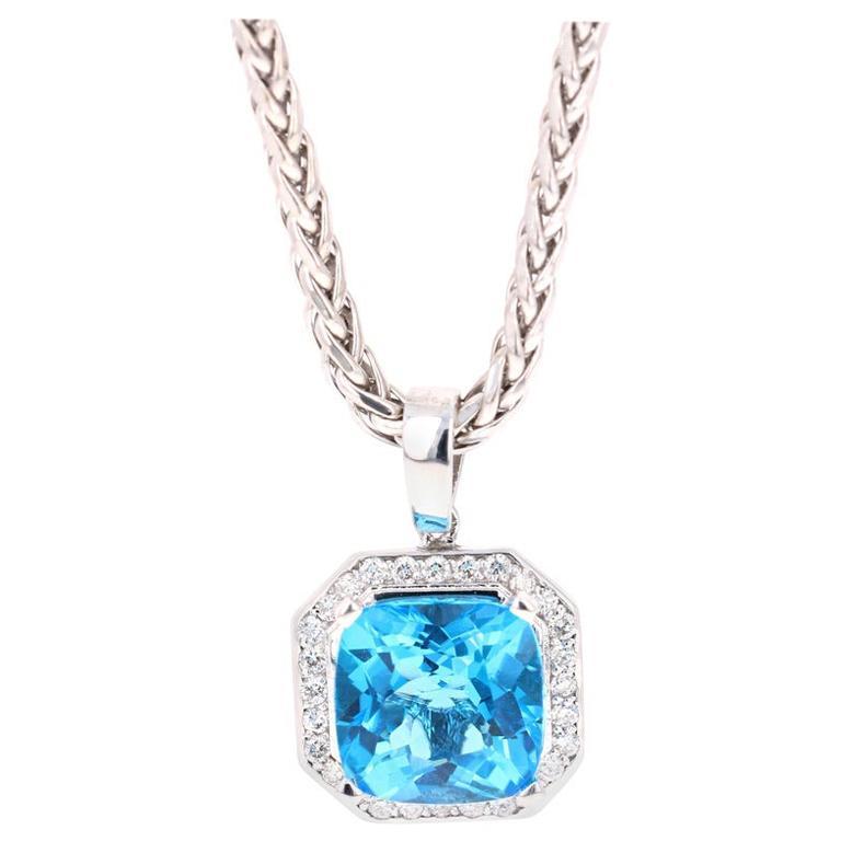 11.26 Carat Blue Topaz Diamond 14 Karat White Gold Pendant with Chain Necklace