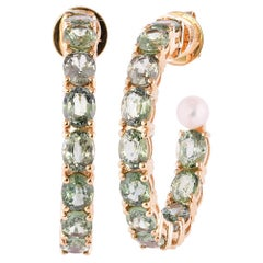 11.26 Carat Green Sapphire Earring in 18 Karat Rose Gold with Pearls