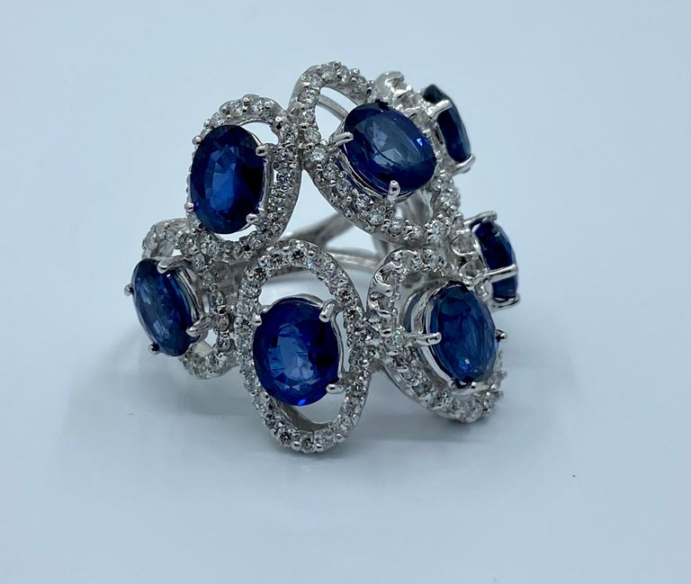11.26 Carat Natural Blue Sapphire and Diamond White Gold Cocktail Ring For Sale 4