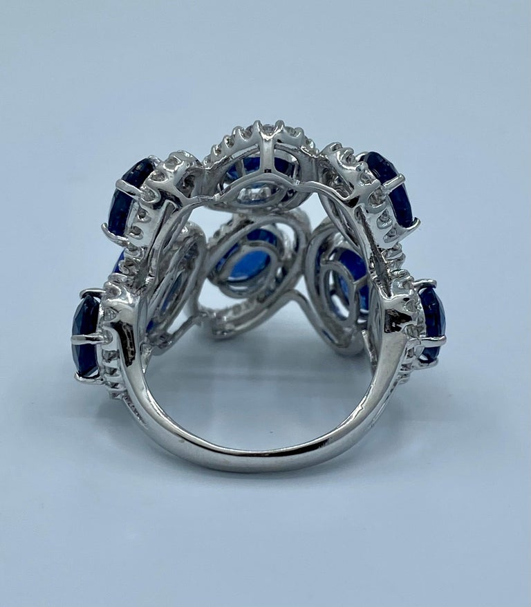 11.26 Carat Natural Blue Sapphire and Diamond White Gold Cocktail Ring For Sale 5
