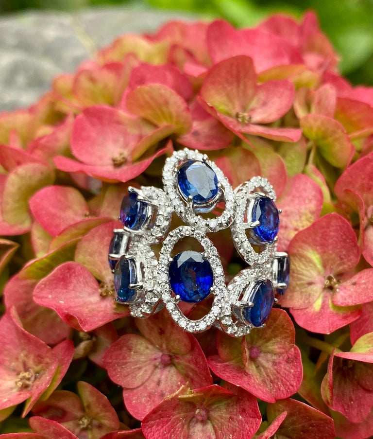 11.26 Carat Natural Blue Sapphire and Diamond White Gold Cocktail Ring For Sale 6