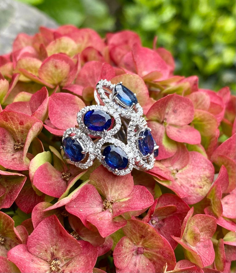 11.26 Carat Natural Blue Sapphire and Diamond White Gold Cocktail Ring For Sale 7