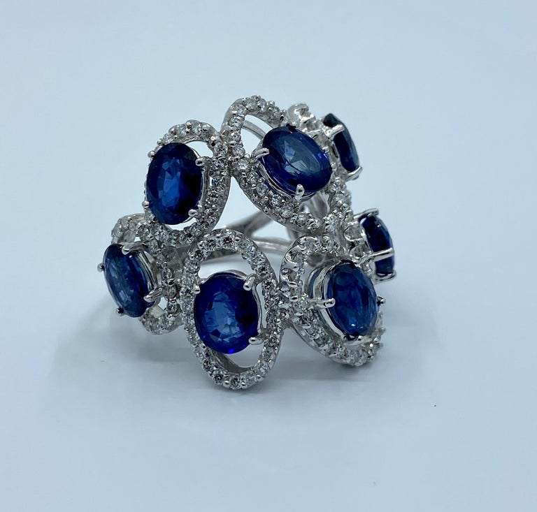 11.26 Carat Natural Blue Sapphire and Diamond White Gold Cocktail Ring For Sale 1