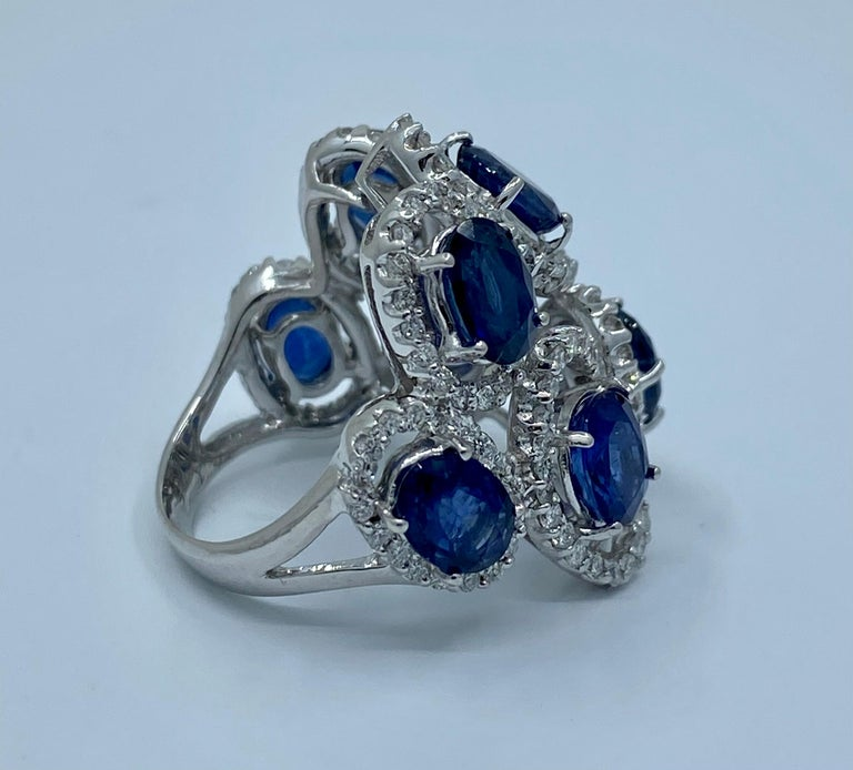 11.26 Carat Natural Blue Sapphire and Diamond White Gold Cocktail Ring For Sale 2