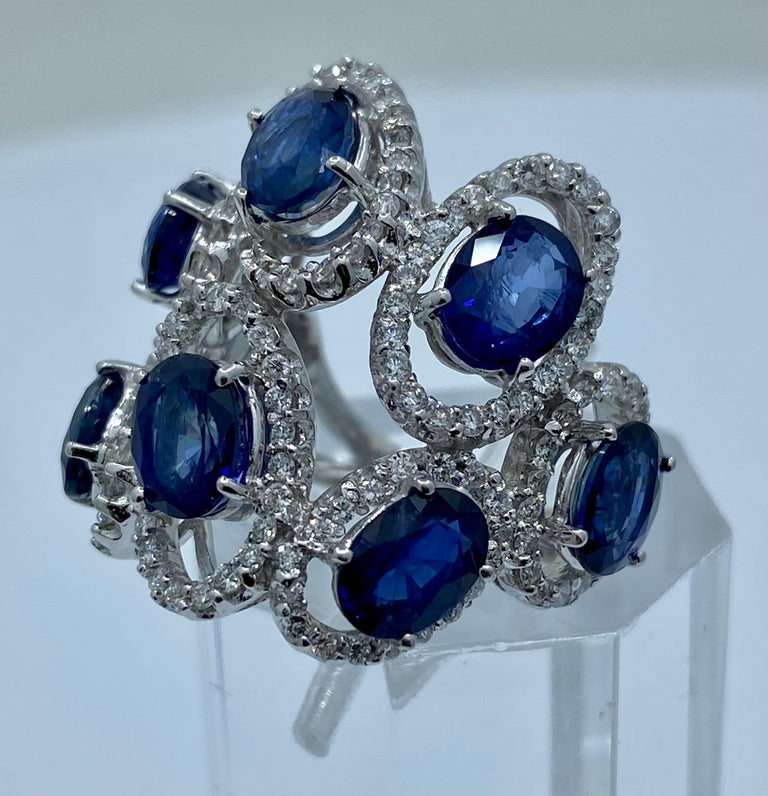 11.26 Carat Natural Blue Sapphire and Diamond White Gold Cocktail Ring For Sale 3