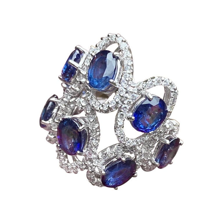 11.26 Carat Natural Blue Sapphire and Diamond White Gold Cocktail Ring For Sale