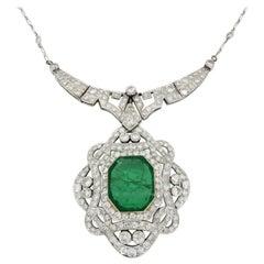 Certified 11.27 Carat Diamond and Columbian Emerald Necklace