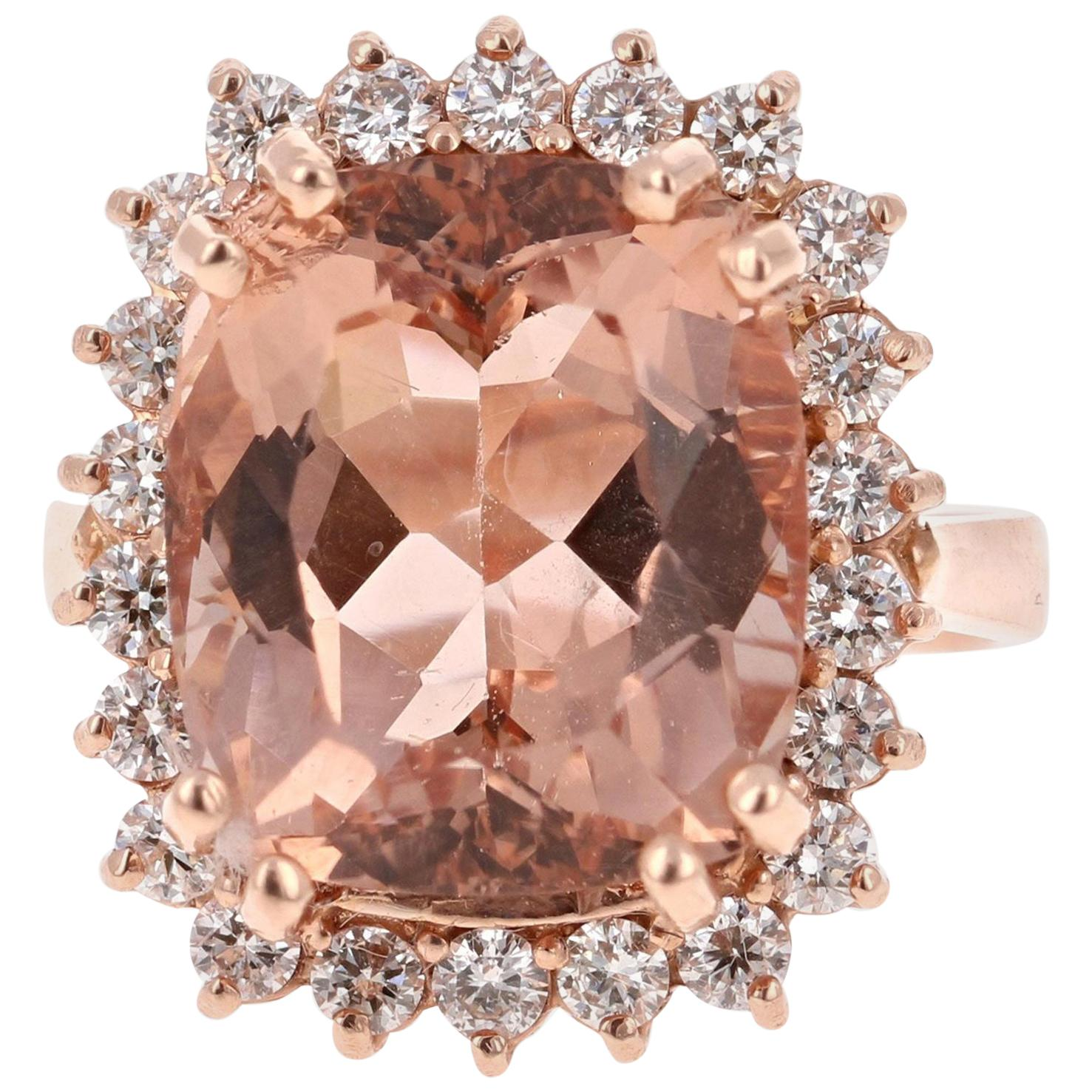11.27 Carat Morganite Diamond 14 Karat Rose Gold Cocktail Ring