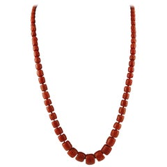 112.7 g Red Coral Beaded Long Necklace