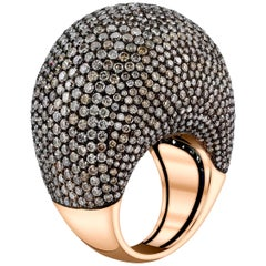 11.28 Carat Chocolate Brown Diamonds 18k Rose Gold Dome Cocktail Ring