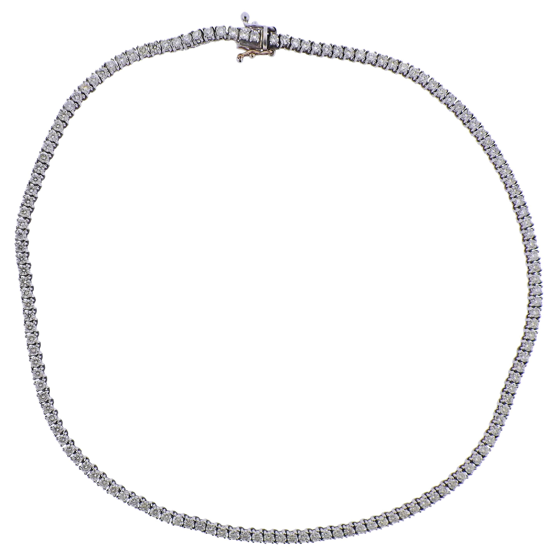 11.28 Carat Diamond Gold Riviere Necklace
