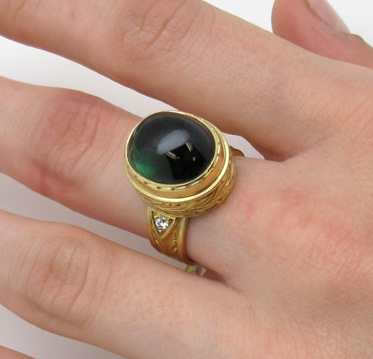 11.28 ct. Green Tourmaline Cabochon, Diamond, Yellow Bezel Dome Band Ring In New Condition For Sale In Los Angeles, CA