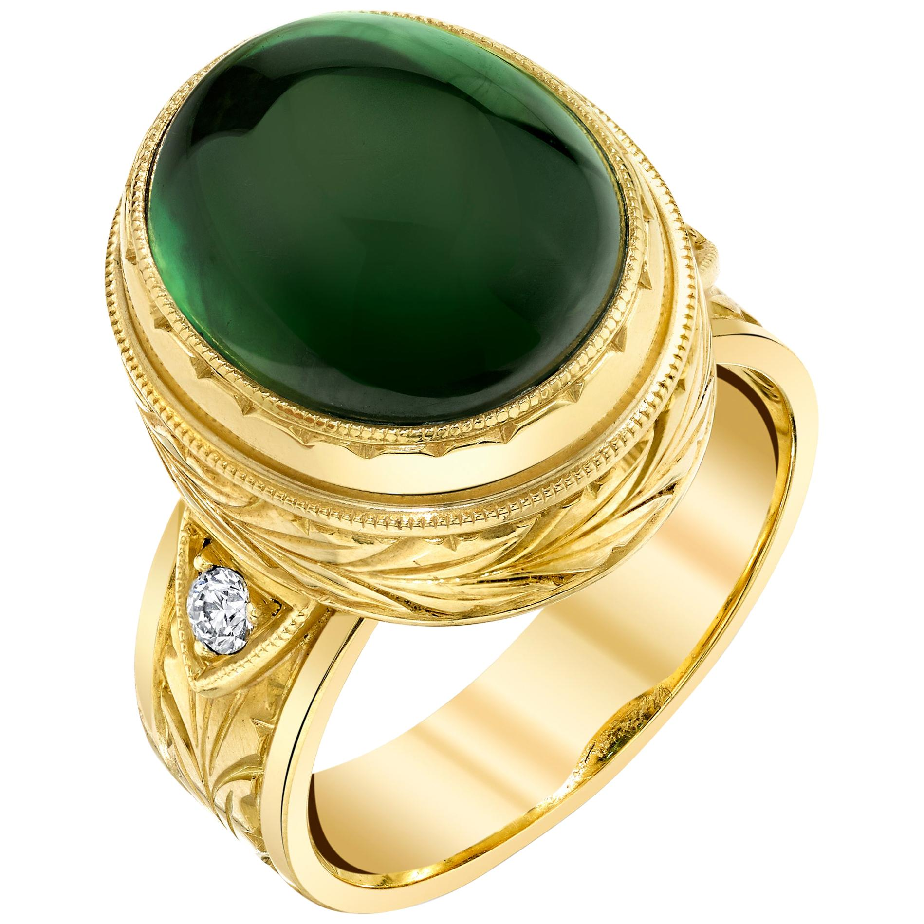 11.28 ct. Green Tourmaline Cabochon, Diamond, Yellow Bezel Dome Band Ring