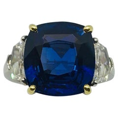 11.28 Carat No Heat AGTA Certified Blue Sapphire Diamond Platinum Ring