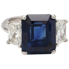11.29 Carat Emerald Cut, No Heat, Thai Sapphire Ring, AGL and GIA Certified