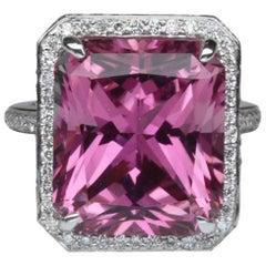 11.29 Carat Emerald Cut Pink Tourmaline Gold Ring Estate Fine Jewelry