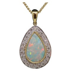 1.12ct Pear Shape Opal & Diamond Cluster Pendant 18 Karat Yellow and White Gold
