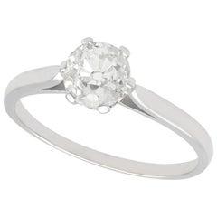 1.13 Carat Diamond and Platinum Solitaire Ring, Antique, circa 1920