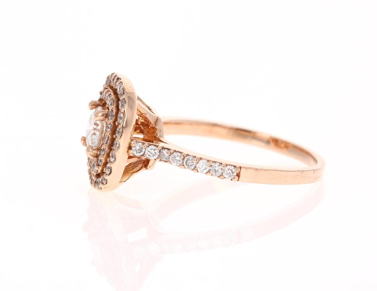 Modern 1.13 Carat Diamond Engagement Ring 14 Karat Rose Gold For Sale