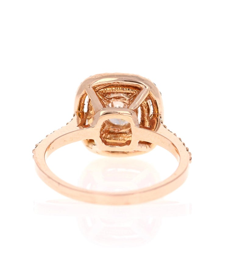 Round Cut 1.13 Carat Diamond Engagement Ring 14 Karat Rose Gold For Sale