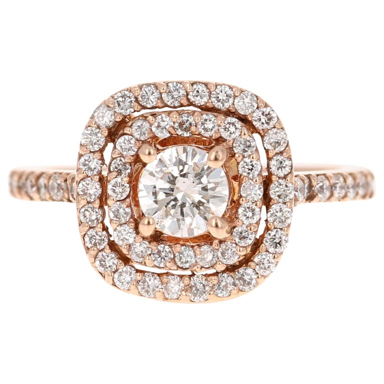 1.13 Carat Diamond Engagement Ring 14 Karat Rose Gold For Sale