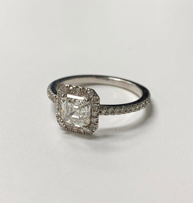 Women's 1.13 Carat Emerald Cut Diamond Ring in 18K White Gold For Sale