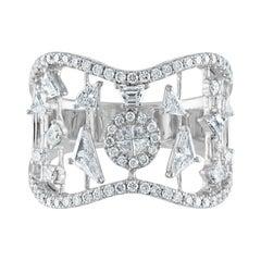 1.13 Carat Geometric Diamonds on Bars Gold Ring