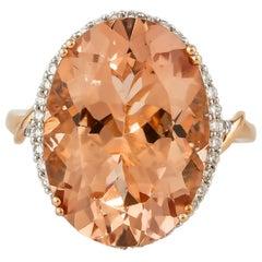 11.3 Carat Morganite and Diamond Ring in 18 Karat Rose Gold