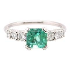 1.13 Carat Natural Emerald and Diamond Engagement Ring Set in Platinum