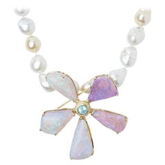 1.13 Carat Paraiba Tourmaline, Opal and Diamond Flower Pendant/Pin