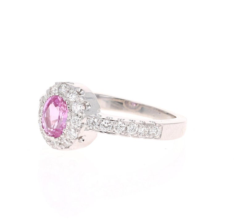 Modern 1.13 Carat Pink Sapphire Diamond 14 Karat White Gold Ring For Sale