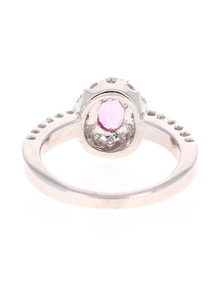 Oval Cut 1.13 Carat Pink Sapphire Diamond 14 Karat White Gold Ring For Sale